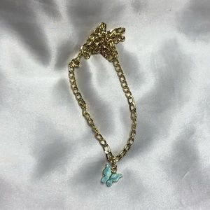 Teal Blue Turquoise Butterfly Chain Necklace